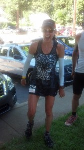 Ultra-Runner Larisa Dannis (2nd Woman overall at the 2014 Western States 100) smiling as she rolled into the 100k aid station at Western States!