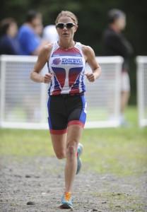 Team PURSUIT triathlete Megan Pennington, on her way to the OVERALL WIN at the Litchfield Hills Triathlon!