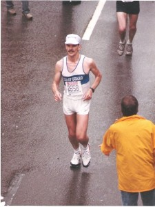 Coach Al at mile 13 of the 1988 Boston Marathon